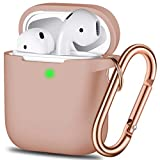Airpods Case Cover, Full Protective Airpods Case Cover Silicone Airpods Case Keychain for Girls and Women, Soft Chargeable Headphone Case with Rose Gold Carabiner for AirPods 2 and 1, Milk Tea