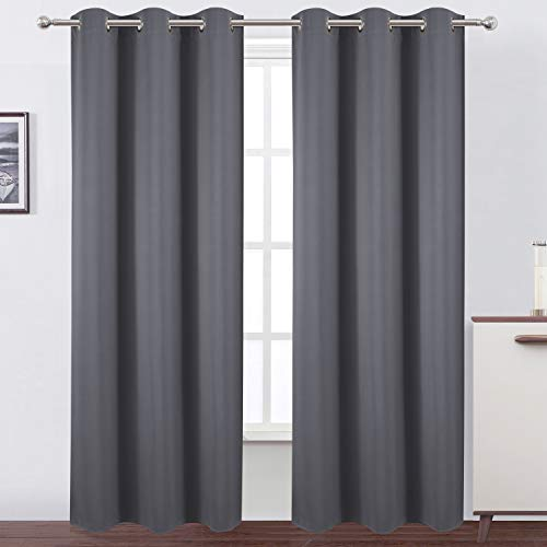LEMOMO Grey Thermal Blackout Curtains/42 x 84 Inch/Set of 2 Panels Room Darkening Curtains for Bedroom