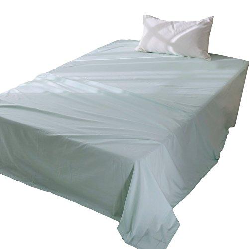 フラットシーツシングルオーガニックコットン洗いざらしの綿100%敷布団用抗菌防臭加工敷きシーツグリーン