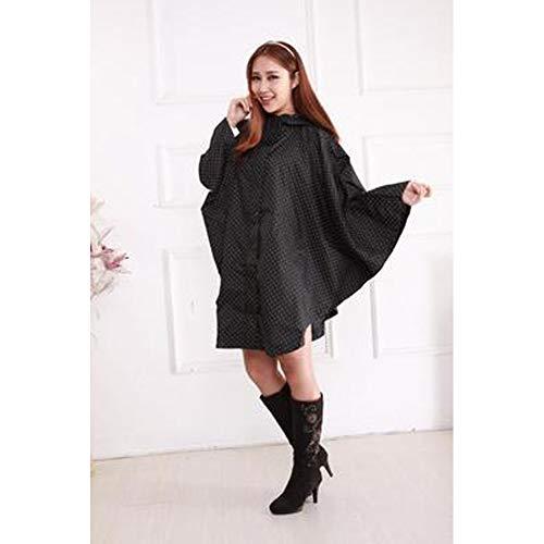 Regenmantel Poncho Regenbekleidung wiederverwendbar,Mode Regenmantel Ultra-Light Mantel Stil Fett MM Regenmantel Größe Radfahren Poncho Ultra-Light Regenbekleidung kann wiederverwendet Werden-Blackd