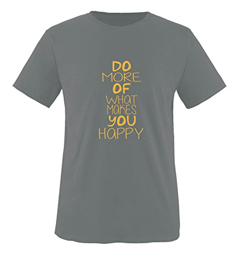 Comedy Shirts - Do More of What Makes You Happy. - Herren T-Shirt - Dunkelgrau/Gelb Gr. M