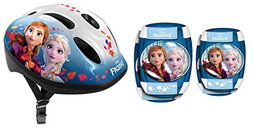 Stamp Sas Combo Frozen II (Helm + Elbow & Knee Pads), Girls, Blue, 50/56 cm