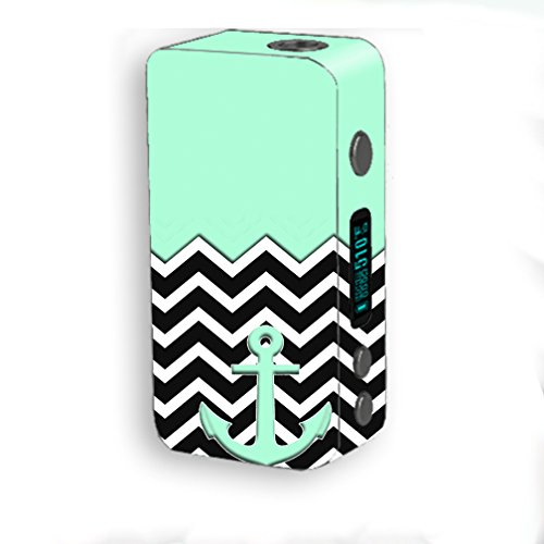 Skin Decal Vinyl Wrap for Smok Kooper Plus 200W Vape Mod Skins Stickers Cover / Teal Black Chevron Anchor