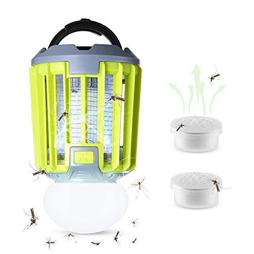 AiMoxa Portable Bug Zapper & Camping Lantern 【2Pcs Mosquito Attractants Included】, Waterproof Mosquito Killer Trap for Outdoor and Indoor, 2000mAh USB Rechargable Battery, Backyard, Patio