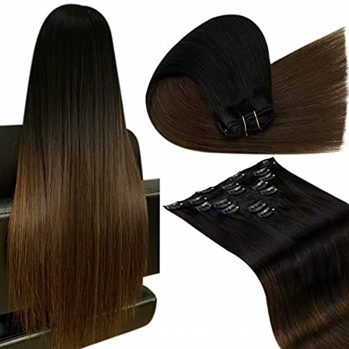 LaaVoo Human Hair Clip in Extensions Ombre Remy Hair Extensions Clip in Human Hair Ombre Off Black to Brown Real Remy Human Hair Extensions Clip on Invisible Clip in Hair Extensions 14' 7pcs/120g