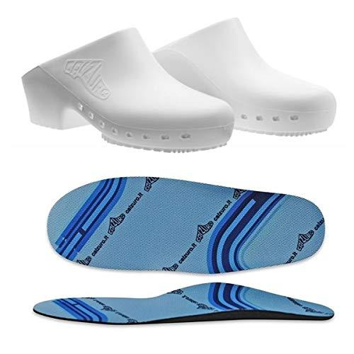 Zuecos sanitarios calzado Classic S sin agujeros con plantilla profesional CE - 39-40 - Blanco