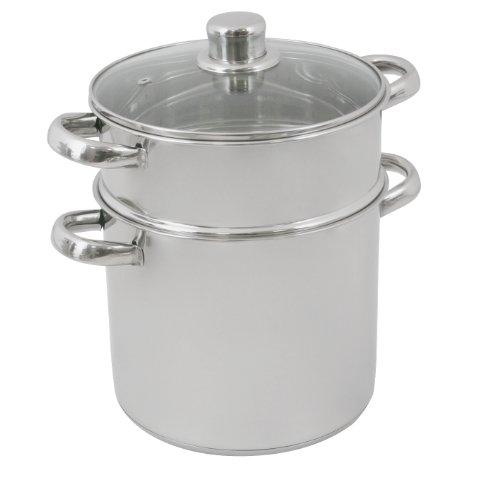 Crealys 502368 Topf, zum Couscous-Kochen, mit Glasdeckel, Edelstahl, 16l, Durchmesser 28cm