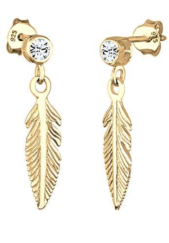 Elli Ohrringe Damen Feder Boho mit Swarovski® Kristalle in 925 Sterling Silber