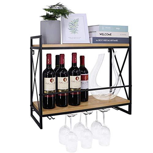 Vägg vinhylla, vinflaska Rack, 2-nivå med väggkopphållare med integrerad glashållare