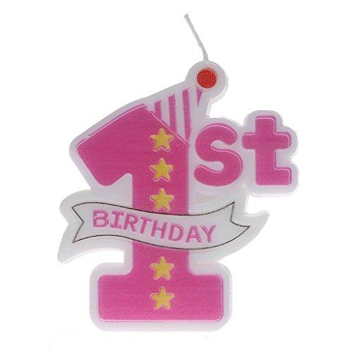 KINTRADE Fuente de la Fiesta Primer diseño Moldeado Vela de cumpleaños Pastel Sombrero de Copa decoración bebé 1 año Vela de cumpleaños - Rosa
