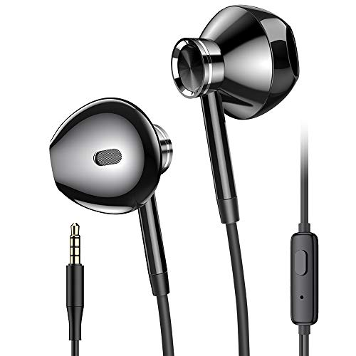 Kopfhörer mit Kabel, PRO-ELEC HiFi-Kopfhörer Ohrhörer mit Mikrofon Stereo Earphones Headphones 3.5mm Kopfhörer für Huawei iPhone 6 5 Samsung-Metall Schwarz