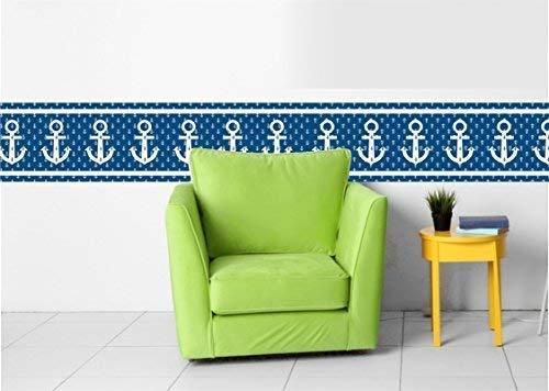 Livingstyle & Wanddesign Vlies Bordüre selbstklebend maritim Nautical Sailor Pirate Anker blau