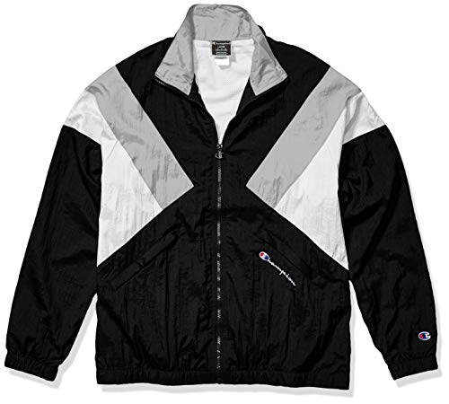 Champion LIFE Men's Nylon Warm Up Jacket, Black/Silverstone/White, Medium