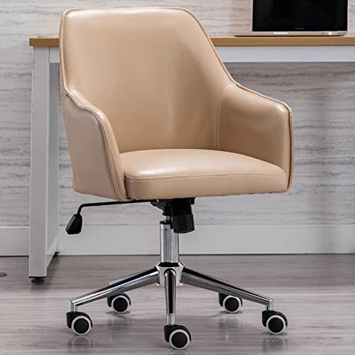 Comif- Ergonomischer Bürostuhl Home Executive Chair, Verstellbarer drehbarer Ledersessel mit Memory Foam-Kissen, verchromte Edelstahlbasis