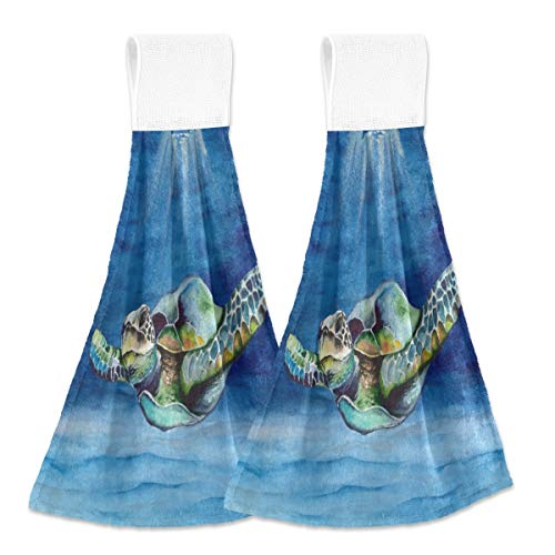 Toallas de cocina para colgar 2 piezas, coloridas tortugas de mar para colgar bucles suaves de terciopelo coral súper absorbentes para decoración del hogar