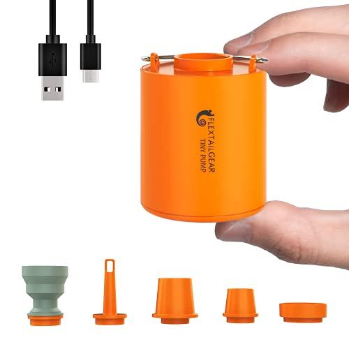 FLEXTAILGEAR Tiny Pump es una Bomba de Aire ultrapequeña portátil con una batería de Litio Recargable de 1300 ma USD, Que Puede inflar y bombear Aire para Piscinas, colchones de Aire,
