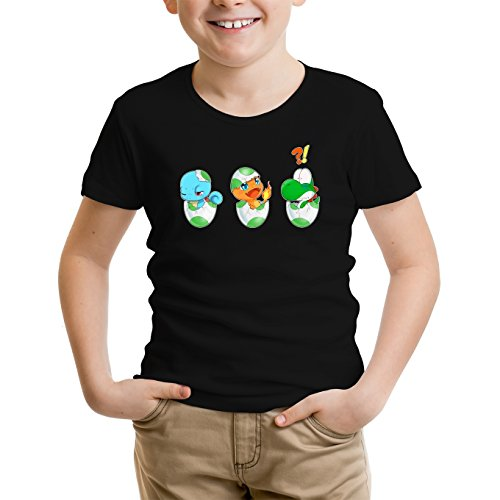 Yoshi - Pokémon Lustiges Schwarz Kinder T-Shirt - Yoshi, SCHIGGY und GLUMANDA (Yoshi - Pokémon Parodie) (Ref:885)
