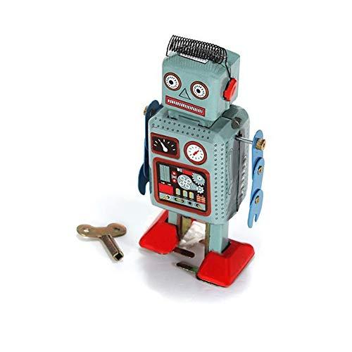 DDG EDMMS Juguete de Cuerda Retro Robot mecánico del Juguete mecánico Divertido Robot de Juguete de hojalata de Radar Caminar Creativo con Llave Azul