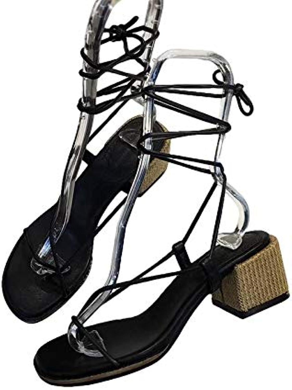 Shukun Sandalen für Damen Römische Schuhe mit Sandalen dick mit mit mit quadratischem Kopf Retro Studenten mit Persönlichkeit Sandwich Zeh Riemen Sandalen weiblichen Sommer  ae0578