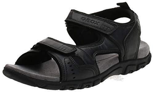 Geox Uomo Sandal Strada A, Sandalias con Punta Abierta Hombre, Negro (Black C9999) 45 EU
