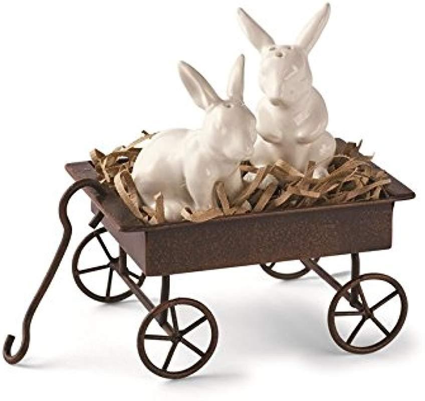 Mud Pie Happy Easter Bunnies In Wagon Spring Look Set Of Salt Pepper Shakers