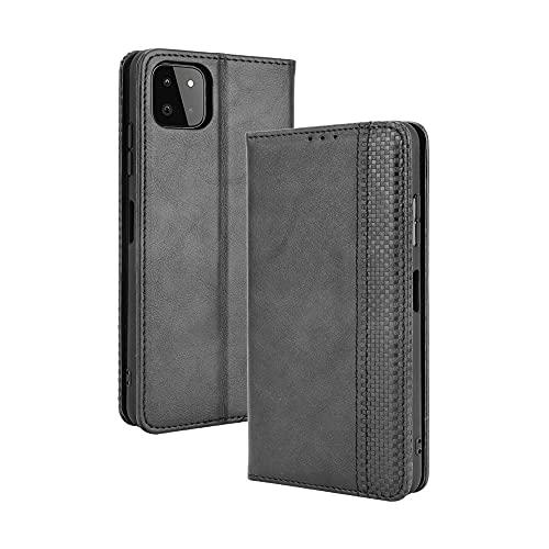 GOGME Leather Folio Funda para Samsung Galaxy A22 5G Funda, Flip Wallet Carcasa Tipo Libro Protector Magnético y Plegable de PU + TPU Soporte de Ranuras para Tarjetas, Negro