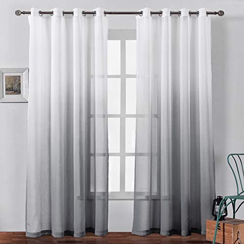 Bermino Faux Linen Sheer Curtains Voile Grommet Semi Sheer Curtains for Bedroom Living Room Set of 2 Curtain Panels 54 x 108 inch Grey Gradient