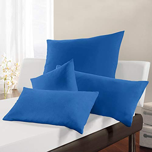 Erwin Müller Kissenbezug, Kissenhülle Single-Jersey Murnau blau Größe 40x60 cm- bügelfrei, strapazierstark, elastisch, mit Reißverschluss (weitere Farben, Größen)