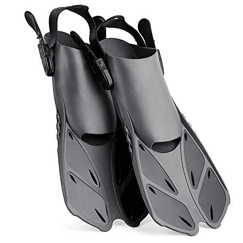 Wsobue Aletas de Buceo, Aletas de Snorkel para Hombres y Mujeres, Aletas de Natación Ajustables de Talón Abierto para Nadar, Bucear y Snorkeling (Negro, S/M)