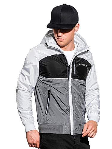 Ombre Chaqueta corta para hombre, con cremallera y capucha, forro cálido, chaqueta de entretiempo para estaciones más frías, con dobladillo elástico y puños gris oscuro XXL