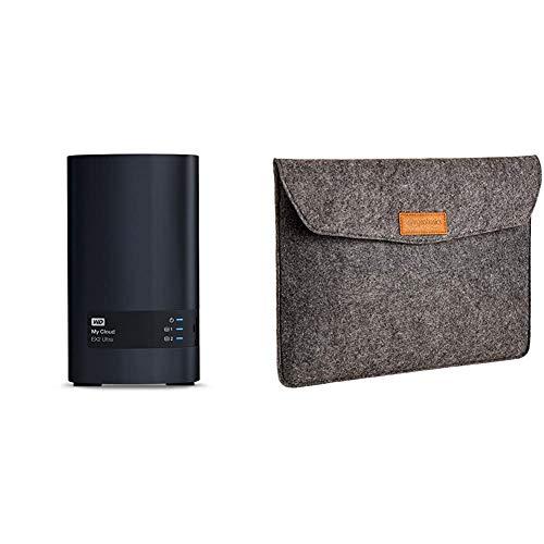 WD My Cloud EX2 Ultra NAS Festplatte 16 TB (zentraler Netzwerkspeicher, einfache Installation,Zwei Laufwerkschächte) & Amazon Basics Laptop-Tasche, Filz, für Displaygrößen bis 13 Zoll, Grau