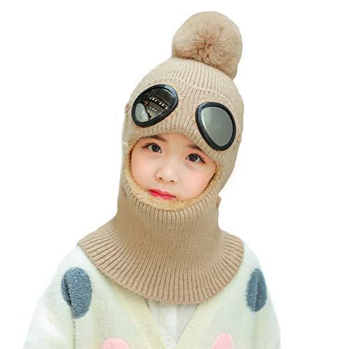 Kinderen wintermuts pompon warme sjaal met winddichte bril warme muts buiten