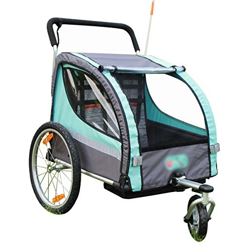 OLMME Aluminium Kinderfahrrad Anhänger 2 Sitze Kinderwagen Doppelanhänger Jogger Kid Carrier Transport Zusammenklappbarer Handwagen Blau 123x76x107cm