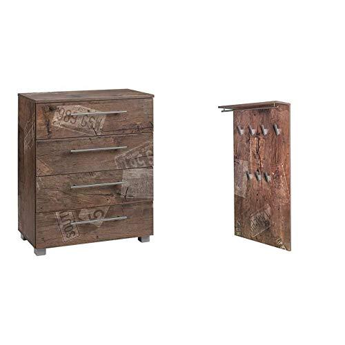Schildmeyer Brisbane Kommode Holz, Dekor, 65 x 35 x 83 cm, panamaeiche & Brisbane Garderobe 133485, Melaminharzbeschichtete Spanplatte, panamaeiche, 60.0 x 20.5 x 120.5 cm