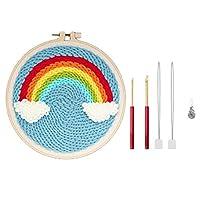 shama 1セットカラフルレインボーパンチ針刺繡スターターキットに初めて初心者DIYツール