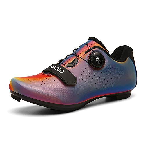 Zapatillas de Ciclismo,Zapatos De Bloqueo De Bicicleta De Carretera Unisex (43,Rojo)