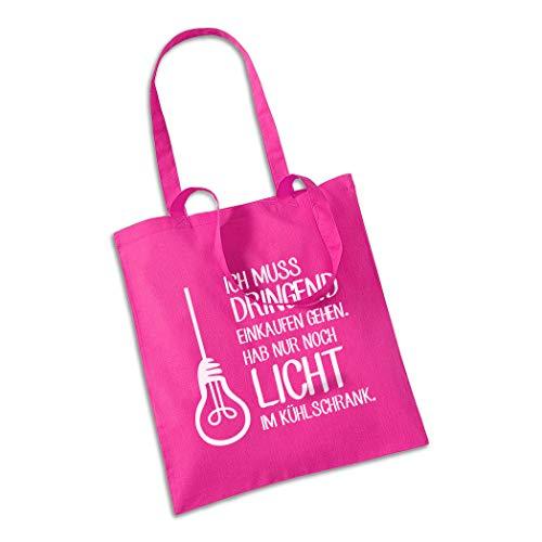CALWDOMN Einkaufstasche Ich muss dringend einkaufen gehen Jutebeutel Habe nur noch Licht im Kühlschrank Stylische Fun mit Sprüchen Baumwolltasche (Rosa)