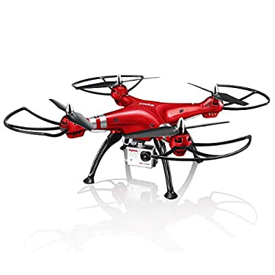 Syma RC Drone with 1080P HD Camera X8HG 2.4GHz 6-Axis Gyro Remote Control Quadcopter Headless Mode Altitude Hold LED Light Functional Drone for Beginners(red)