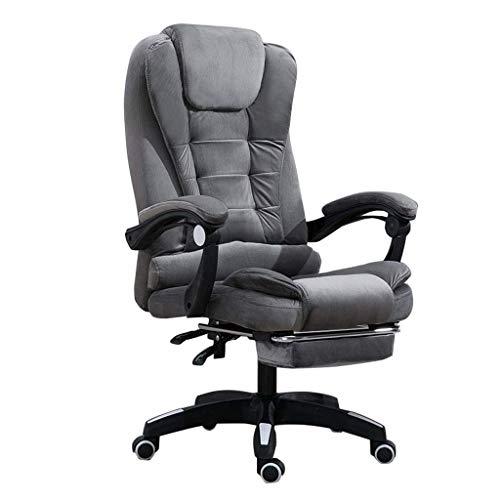 CAIS Sessel Bürostuhl aus gepolstertem Flanellstoff mit hoher Rückenlehne und Fußstütze Komfort Luxus-Drehstuhl für Executive-Computer, ergonomisches Liegedesign, höhenverstellbar, grau