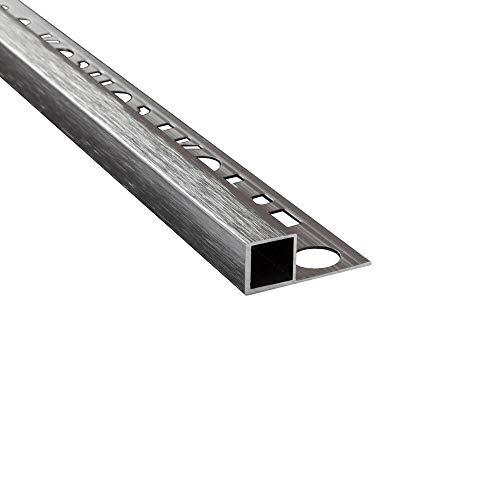 Alu Vierkant Quadrat Profil Fliesenschiene Schiene matt poliert L270cm H10mm gebürstet