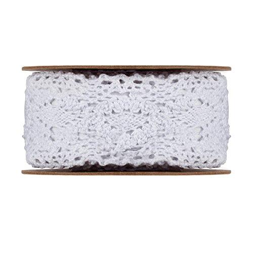 Spitze, Weiß, selbstklebend, 3,8 cm breit, 3 m je Rolle, Baumwolle, Selbstklebende Spitze zum Aufkleben