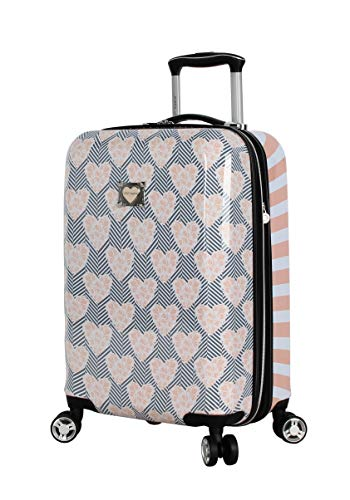 Betsey Johnson Designer 20 Inch Carry On - Expandable (ABS + PC) Hardside Luggage - Lightweight Durable Suitcase With 8-Rolling Spinner Wheels for Women (Chevron Hearts)