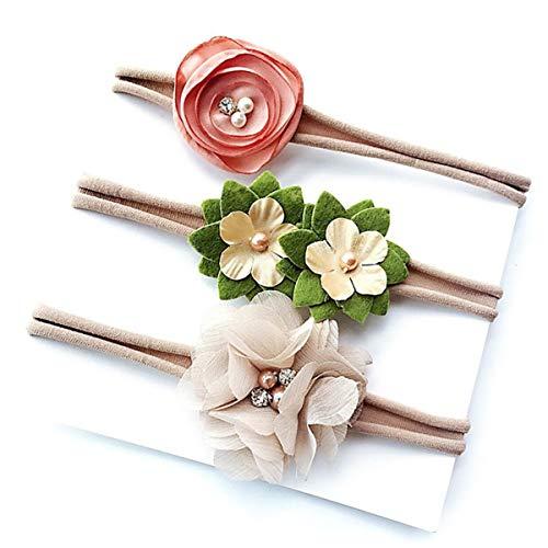 HaiQianXin 3-delige set elastische haarbanden voor baby's met foto's van de bloem van de druppels (kleur: roze + beige + groen)