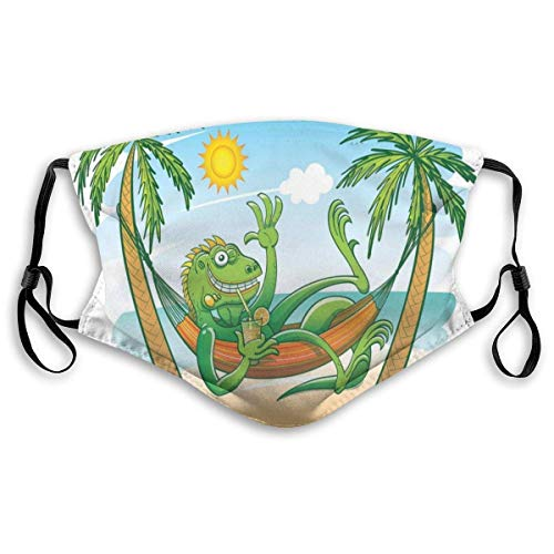Mouth Scarf Green Iguana Smiling Waving Sunbathing Tropical Holiday Palm Trees With Hammock For Men And Women