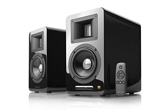 AmazonUkkitchen AirPulse A100 Actieve Boekenplank Bluetooth HiRes Audio Speaker Systeem met handtekening Phil Jones Ontwerp - A100 - Zwart A100-Black Zwart