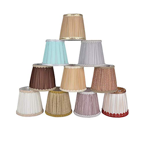 6 piezas lámpara de mesa tela sombra lámpara de tela sombras artesanía E27 E14 lámpara de pared lámpara colgante vela lámpara lámpara clip en la pantalla de la lámpara