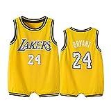 Maillot de Basket-Ball pour Enfants Kobe Bryant 24# Lakers, Gilet de Sport pour Enfant garçon Fille bébé Sweat Fitness vêtements de sport-yellow-59cm(52~58cm8~11kg)