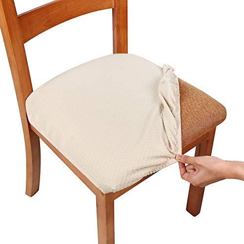 Homaxy Stretch Spandex Jacquard Esszimmerstuhl Sitzbezüge, herausnehmbarer waschbarer Anti-Staub Esszimmerstuhl Sitzkissen Hussen - 4er Set, Beige