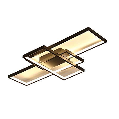 Lámpara de techo LED regulable con diseño moderno de anillo rectangular para dormitorio, salón, cocina, comedor, estudio, oficina, iluminación con mando a distancia, color negro, 85 cm