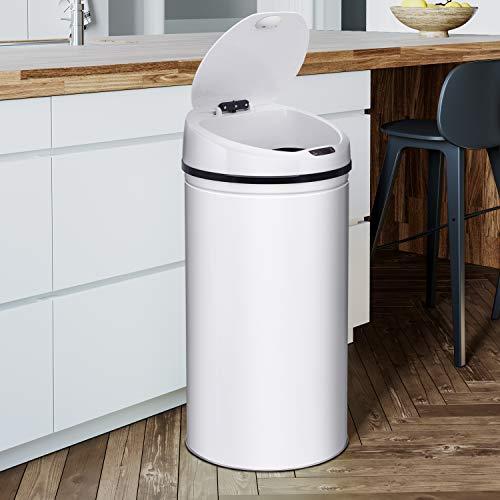 Ribelli Edelstahl Mülleimer - Abfalleimer mit Sensor - automatisches Öffnen und Schließen - Klemmring für Müllbeutel - Abnehmbarer Deckel - mit LED-Funktionsanzeige (weiß, 30 Liter)